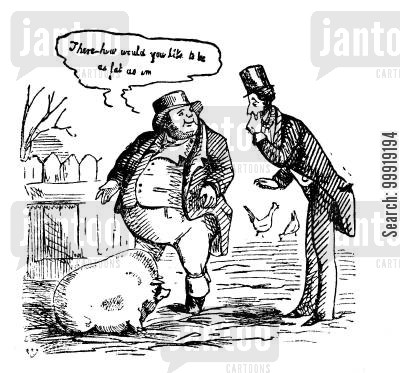 gentleman farmer cartoon humor: Fat Pigs.