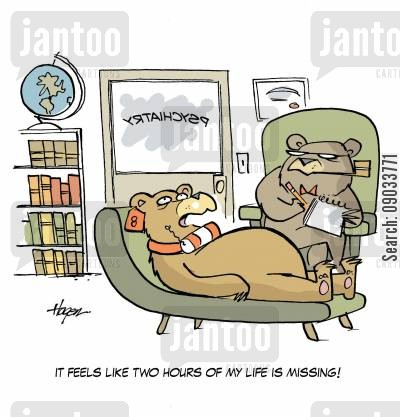 tranquilizer cartoon humor: 'It feels like two hours of my life is missing.'
