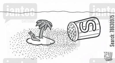 deserted island cartoon humor: Slug trapped on deserted island surrounded by salt.
