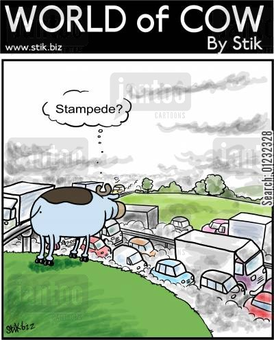 enviroment cartoon humor: Stampede?