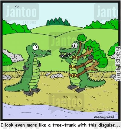 tree trunks cartoon humor: 'I look even more like a tree-trunk with this disguise...'