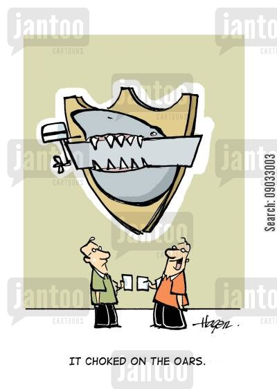 taxedermy cartoon humor: 'It choked on the oars.'