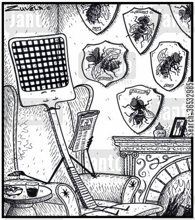 squashed cartoon humor: A fly swatter enjoying his newspaper in front of his trophies of flattened flies.