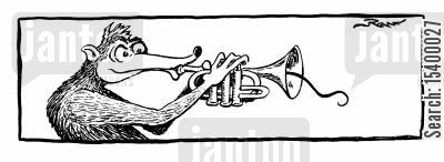 anteater cartoon humor: Anteater playing the trumpet