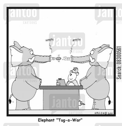 tug-a-war cartoon humor: 'Elephant Tug-a-War.'