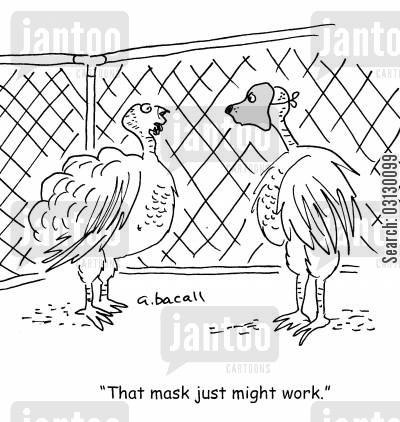 roast dinners cartoon humor: Turkey Disguise.