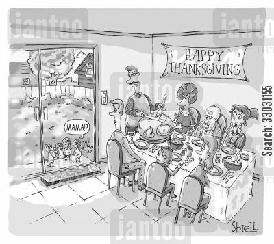 happy thanksgiving cartoon humor: Turkey kids: Thanksgiving.