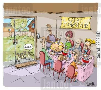 dinner table cartoon humor: Turkey Kids.