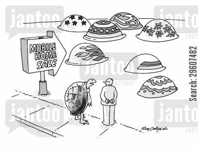 mobile home cartoon humor: Tortoise at mobile home sale.