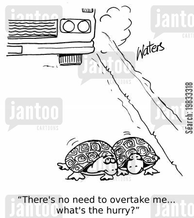 overtake cartoon humor: 'There's no need to overtake me... what's the hurry?'