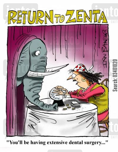tusks cartoon humor: 'You'll be having extensive dental surgery...'