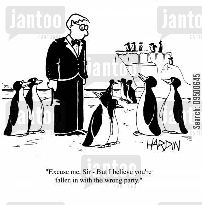 dinner jacket cartoon humor: 'Excuse me, Sir - But I believe you're fallen in with the wrong party.'