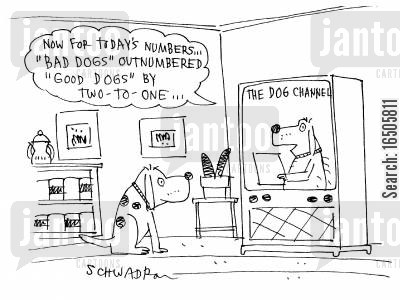 animals watching tv cartoon humor: 'Now for today's numbers...'Bad Dogs' outnumbered 'Good Dogs' by two-to-one...'