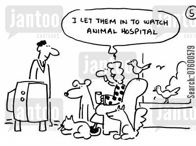 lounge cartoon humor: 'I let them in to watch animal hospital.'