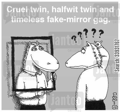 cruelty cartoon humor: Cruel twin, half wit twin and timeless fake-mirror gag.