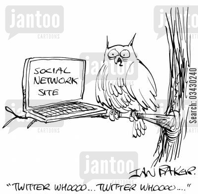 bird call cartoon humor: 'Twitter whooo...Twitter whooo...'