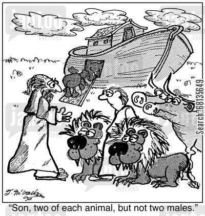 two by two cartoon humor: 'Son, two of each animal, but not two males.'