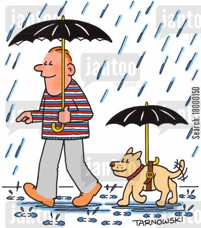 attachments cartoon humor: Dog with an umbrella on a harness.