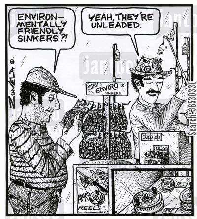 tackle shop cartoon humor: 'Environmentally friendly sinkers?!'   'Yeah, they're unleaded.'