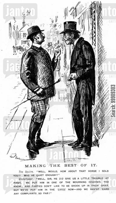 street cartoon humor: Two Men Discussing A Horse.