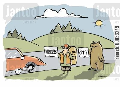 hitch hiker cartoon humor: Wilderness - City.