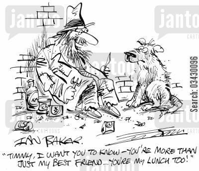 eating dog cartoon humor: 'Timmy, I want you to know - You're more than just my best friend...You're my lunch too!'