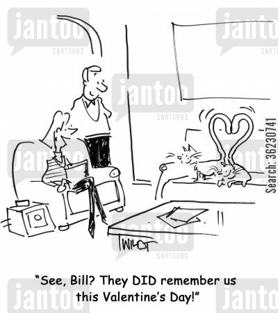 speed dating cartoon humor: See, Bill? They DID remember us this Valentine's Day!