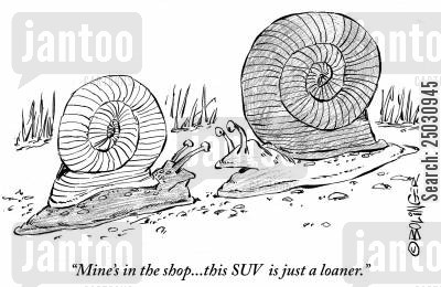 gas guzzler cartoon humor: 'Mine's in the shop...this SUV is just a loaner.'