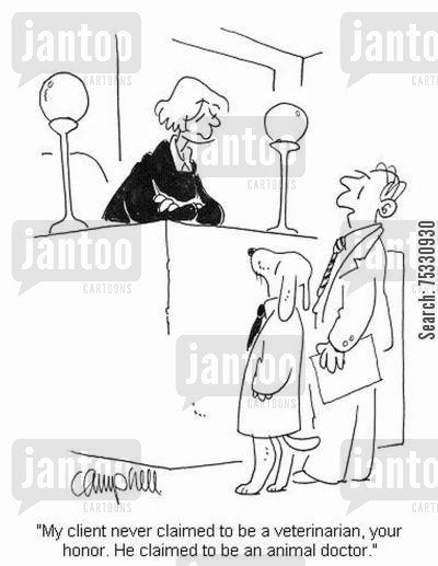 malpractise cartoon humor: 'My client never claimed to be a veterinarian, your honor. He claimed to be an animal doctor.'