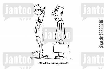 sick animals cartoon humor: 'What! You ate my patient?'