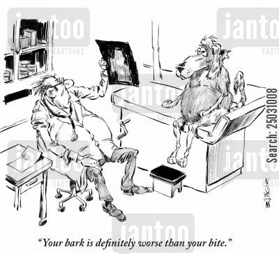 prognosis cartoon humor: Vet to dog: 'Your bark is definitely worse than your bite.'