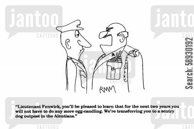 transfer cartoon humor: 'Lieutenant Fenwick, you'll be pleased to learn...