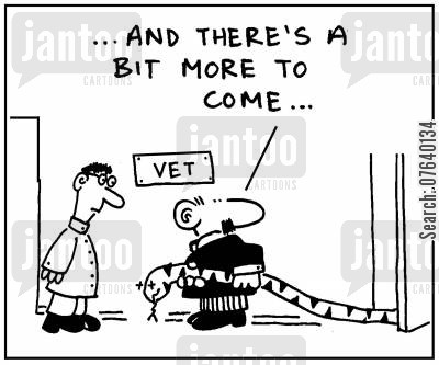 giant snake cartoon humor: '...and there's a bit more to come.'