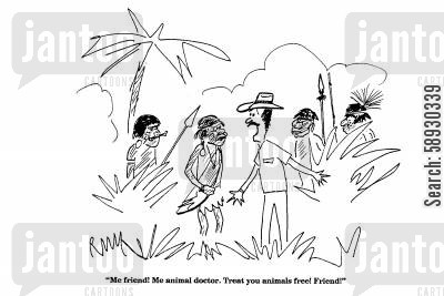 explore cartoon humor: 'Me friend! Me animal doctor....'