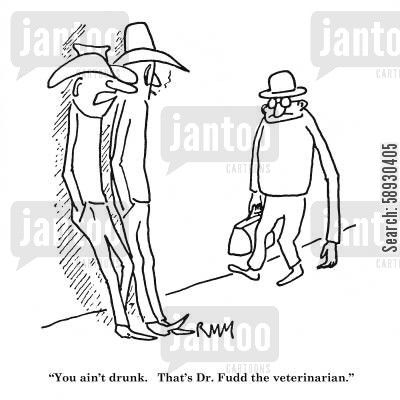 examining cartoon humor: 'You ain't drunk. That's Dr. Fudd the veterinarian.'