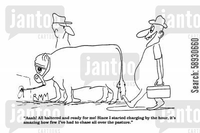 hourly rate cartoon humor: 'Aaah! All haltered and ready for me!...