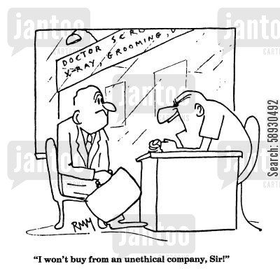 dog grooming cartoon humor: 'I won't buy from an unethical company, Sir!'