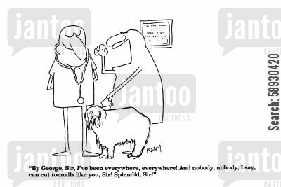 cutting nails cartoon humor: 'By George, Sir, I've been everywhere, everywhere!...