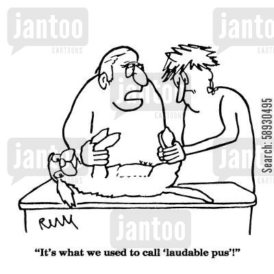 pus cartoon humor: 'It's what we used to call 'laudable pus'!'