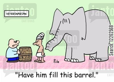 sick animals cartoon humor: 'Have him fill this barrel.'