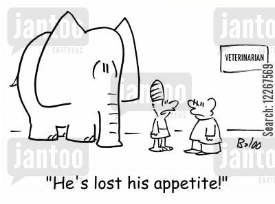 mahout cartoon humor: VETERINARIAN, 'He's lost his appetite,'