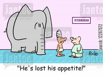 mahout cartoon humor: VETERINARIAN, 'He's lost his appetite.'