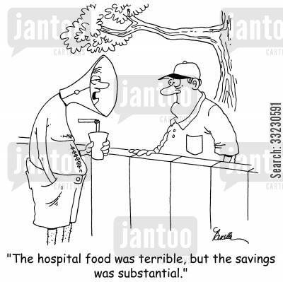 suture cartoon humor: 'The hospital food was terrible, but the savings was substantial.'