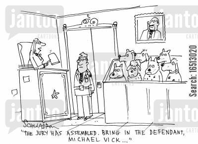 dog fighting cartoon humor: 'The jury was assembled. Bring in the defendant, Michael Vick...'