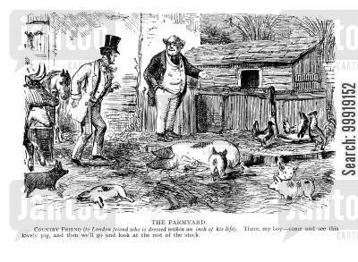 victorian farms cartoon humor: The Farmyard