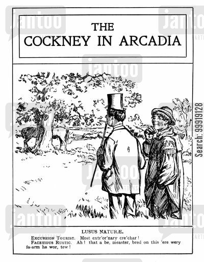 rural britain cartoon humor: The Cockney in Arcadia