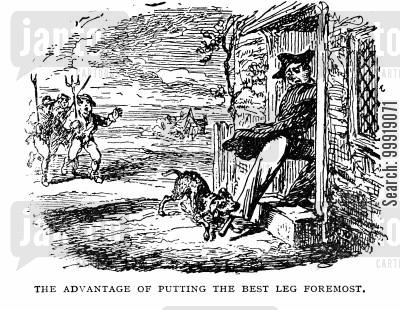 pet dog cartoon humor: The Advantage of Putting the Best Leg Foremost.