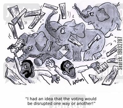 polling station cartoon humor: 'I had an idea that the voting would be disrupted one way or another!'