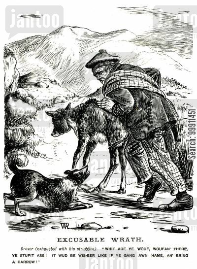 barking cartoon humor: Man pushing his donkey along the road