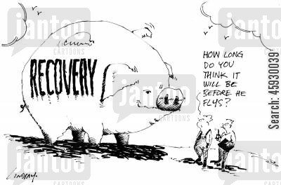 flying pig cartoon humor: Recovery - How long do you think it will be before he flys?